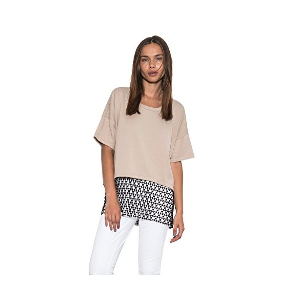 Women Payton Oversized Boxy Knit Top Crochet Lace Tan Black By One Grey Day-L