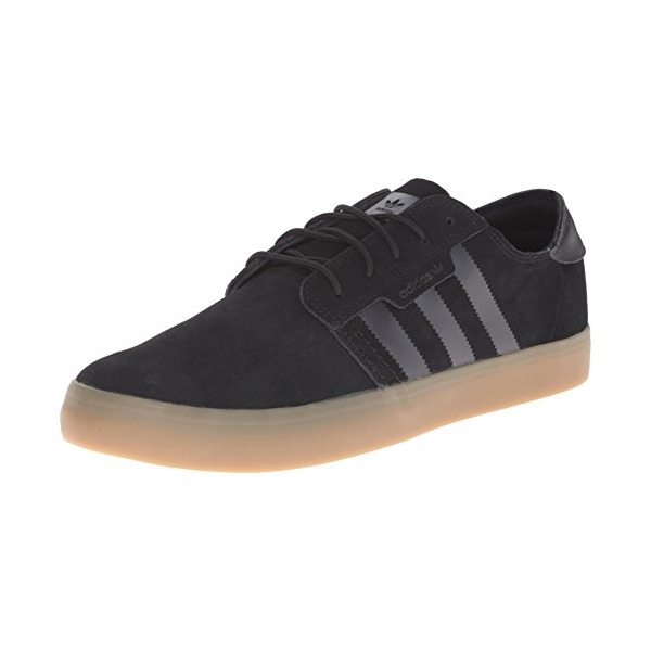 adidas Originals Men's Seeley Essential Skateboarding Shoe, Black/Black/Gum, 9 M US
