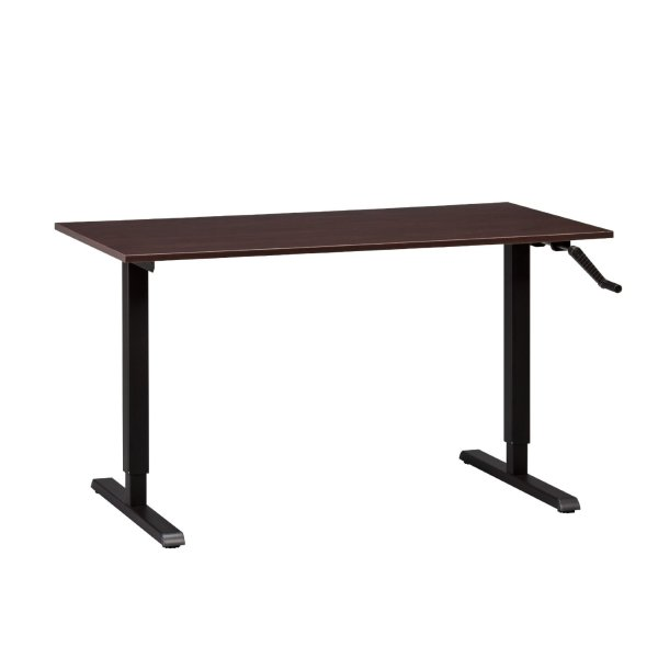 MultiTable Adjustable Height Standing Desk, Black Manual ModTable Base with Large Espresso Table Top