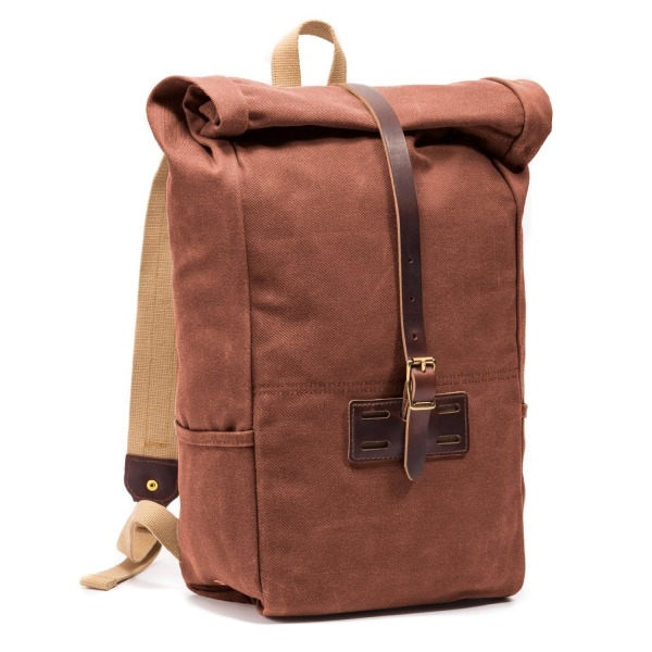 Archival Clothing Waxed Roll Top Backpack, Cinnamon Brown