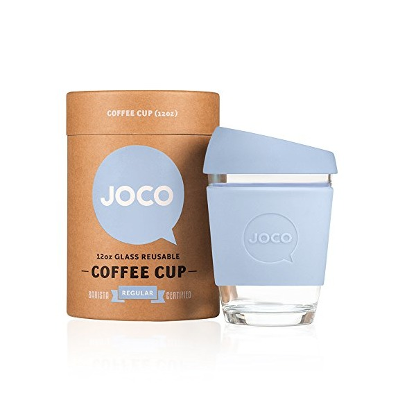 JOCO 12oz Glass Reusable Coffee Cup (Vintage Blue)