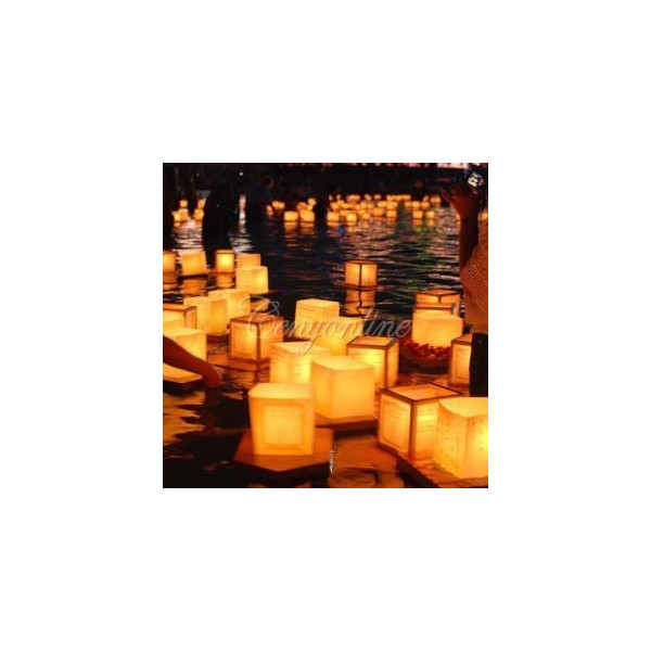 10 pack Square Chinese Lanterns Wishing, praying, Floating, River Paper Candle Light