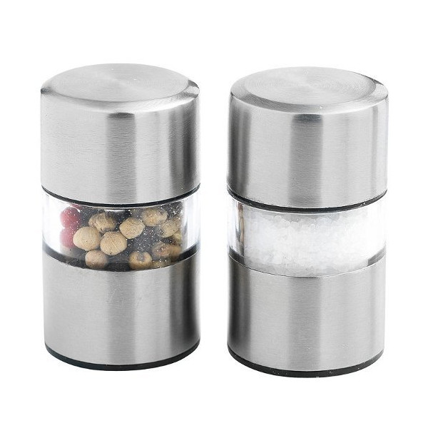 Orka Mini Salt and Pepper Grinders - Stainless Steel