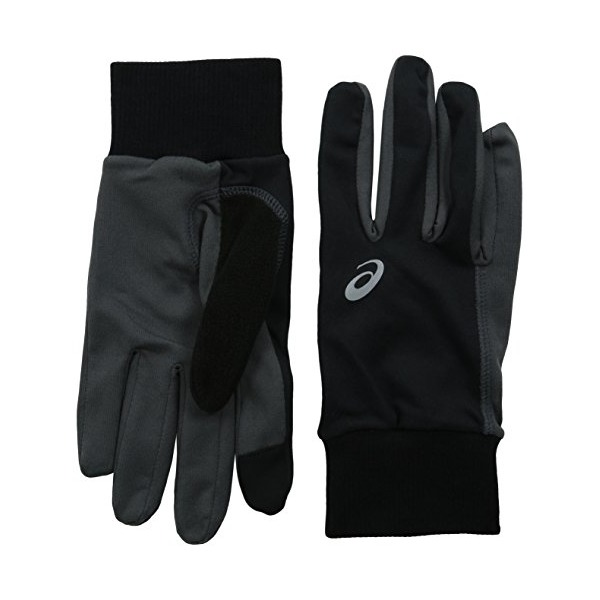 ASICS Thermal Run Gloves, Small/Medium, Black/Dark Grey