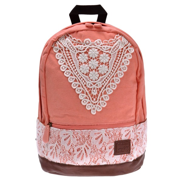 ZLYC Girls Canvas School Crochet Lace Backpack (pink)