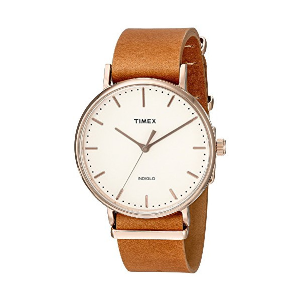 Timex 'Weekender Fairfield' Quartz Brass and Leather Casual Watch, Brown