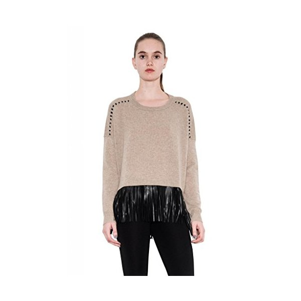 Tatum Cashmere Hi Lo Leather Fringe Pullover Long Sleeve Oatmeal One Grey Day-L