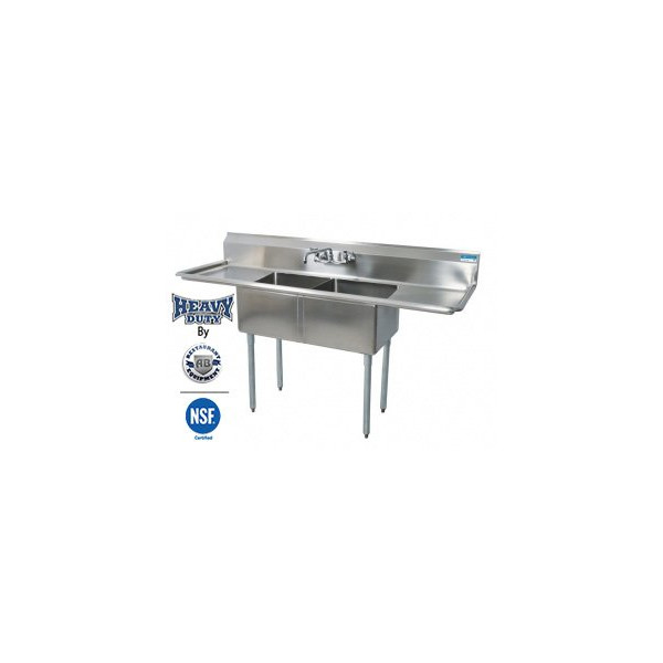 Commercial Stainless Steel - Two Compartment SInk 72 inch x 24 inch