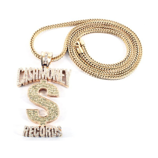 Gold Iced Out Young Money Cash Money Records Pendant with a 36 Inch Franco Chain Necklace