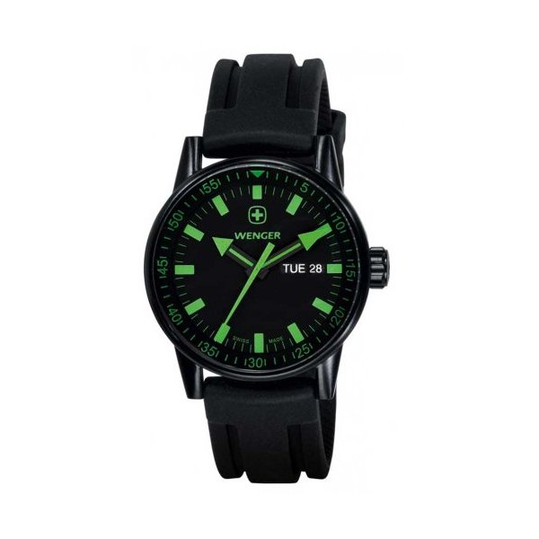 Wenger 70172 Men's Black Ion Plated Green Accents Black Dial Rubber Strap Watch