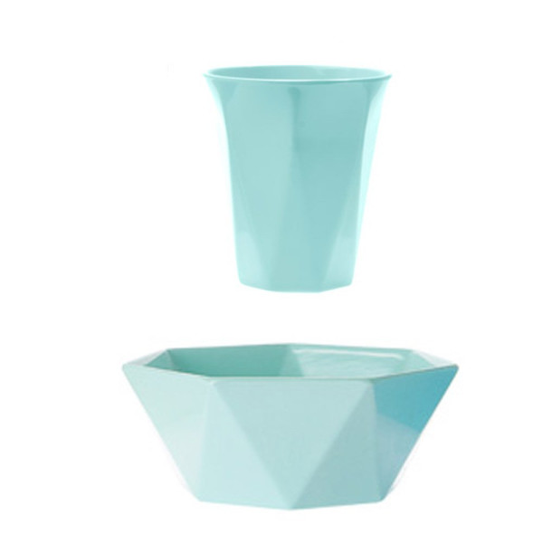 Teal Geometric Cup and Bowl, Set of 2