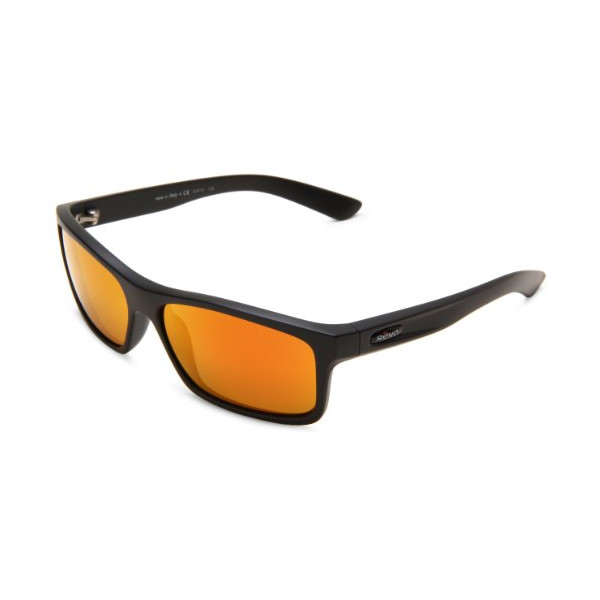 Revo Square Classic RE4061-03 Polarized Squared Sunglasses,Matte Black Frame/Orange Lens,One Size