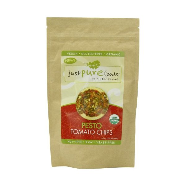 Just Pure Foods Organic Vegetables and Seasoning, Pesto Tomato Chips, 1.5 Ounce