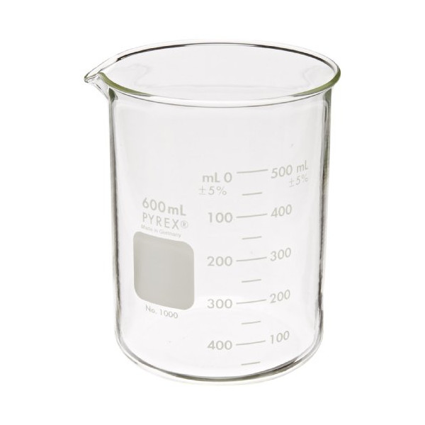 Corning Pyrex 1000-600 Glass 600mL Graduated Low Form Griffin Beaker, 50mL Graduation Interval, with Double Scale