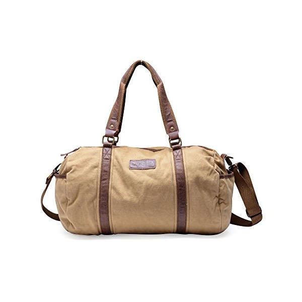Gootium 30317KA Thick Canvas Genuine Leather Cross Body Traveling Sports Handbag Shoulder Duffle Bag,Khaki