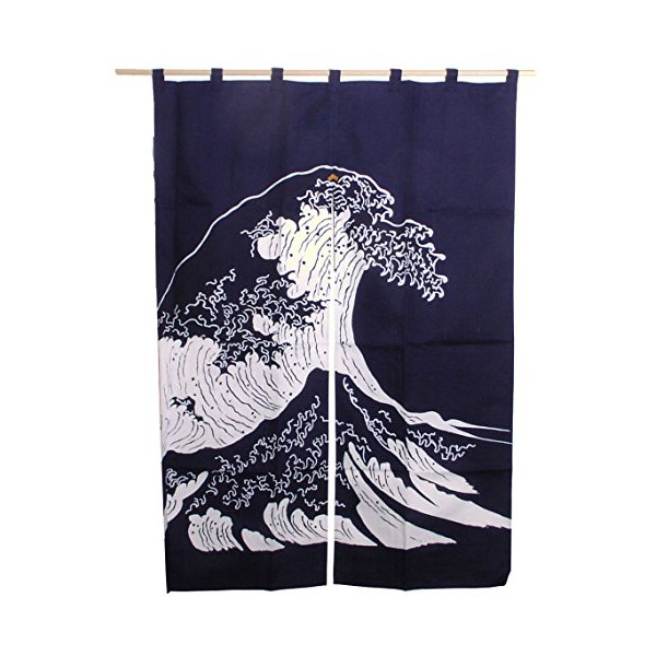 "Japanese ""Massive Tidal Wave"" Noren Doorway Curtain, Made in Japan"