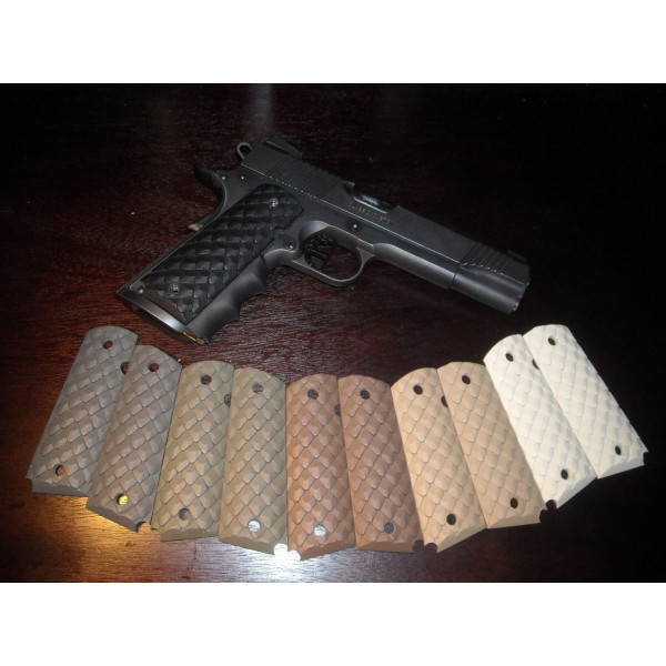 "Custom ""Dragon Scales"" High-Impact Polymer 1911 Grips in Ivory"