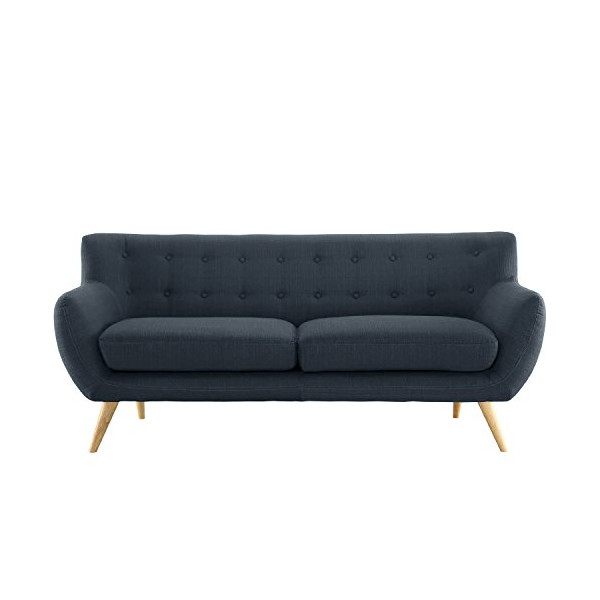 Mid-Century modern tufted linen fabric loveseat in various colors - polo blue, blue, light grey, yellow and red (Polo Blue)