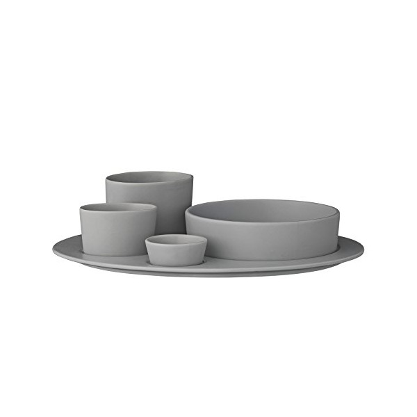 Bloomingville Ceramic Gitte Plate with Assorted Bowls Set, Gray