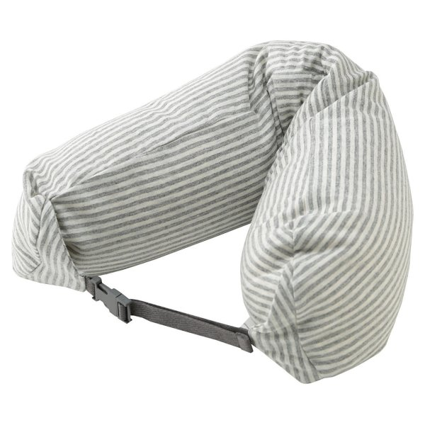 Moma Muji Well-fitted (Microbead) Neck Cushion (White with Gray Stripe)