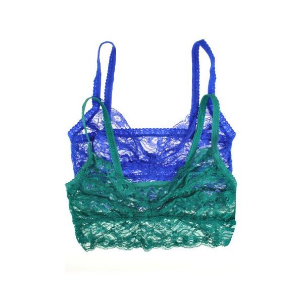2 Pack: Lace Elastic Sheer Bralettes Many Colors (Medium/Large, Green/Royal)