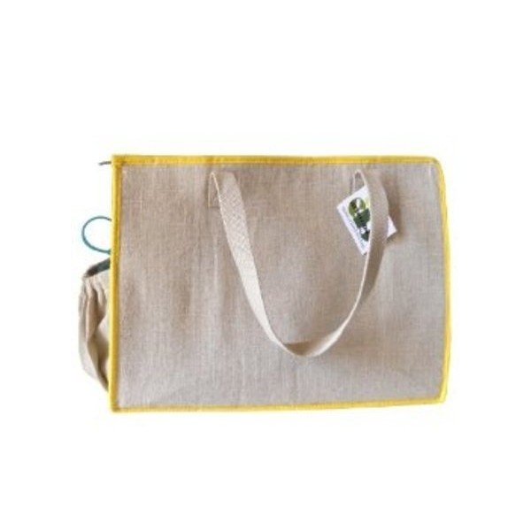 Natural Jute Insulated Lunch Tote with Yellow Trim and Zipper Closure