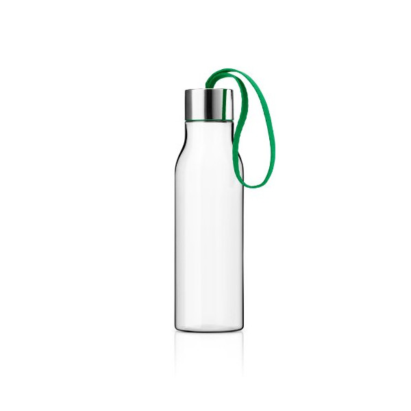 Eva Solo Drinking Bottle, 0.5-Liter, Clear with Jolly Green Strap