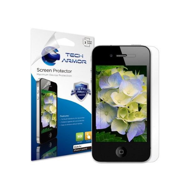 Tech Armor Apple iPhone 4/4S High Defintion (HD) Clear Screen Protectors -- Maximum Clarity and Touchscreen Accuracy [3Pack] Lifetime Warranty