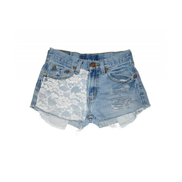 Women's Lace Marilyn High Waisted Vintage Levi Cutoff Denim Shorts Jean-L