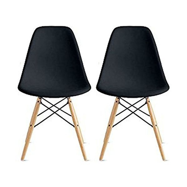 2xhome - Set of Two (2) Black - Eames Style Side Chair Natural Wood Legs Eiffel Dining Room Chair - Lounge Chair No Arm Arms Armless Less Chairs Seats Wooden Wood Leg Wire Leg Dowel Leg Legged Base Chrome Metal Eifel Molded Plastic