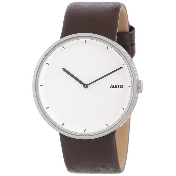 Alessi Men's Quartz Watch, Brown Leather