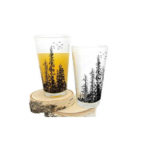 Pine Tree Forest Pint Glasses