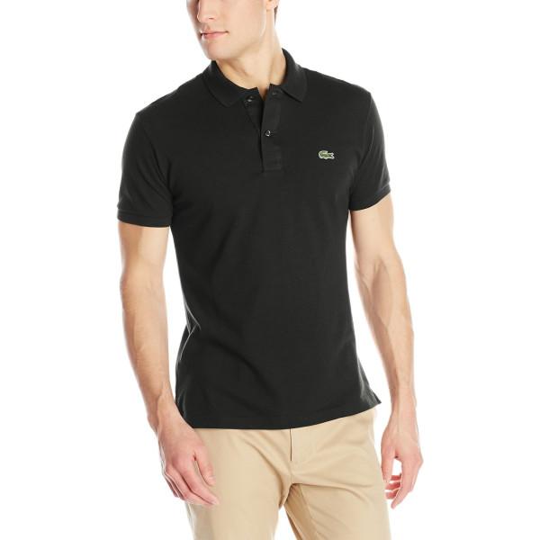 Lacoste Men's Short Sleeve Pique Slim Fit Polo Shirt, Black, XXL/Eur 8