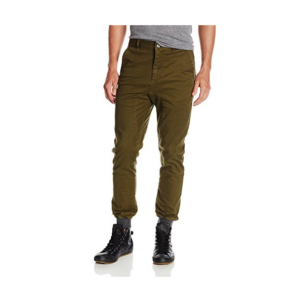 Zanerobe Men's Dynamo Chino Jogger Pant with Knit Cuff, Military Green, 34