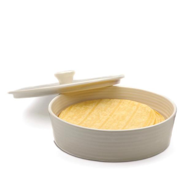 RSVP Stoneware Tortilla Warmer, White