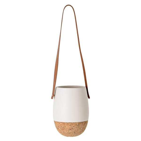 Bloomingville Round Ceramic Hanging Flower Pot with Cork Bottom & Leather Strap, Matte White
