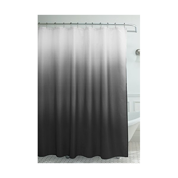 Creative Home Ideas Ombre Waffle Weave Shower Curtain with 12 Color Coordinated Metal Roller Rings, Dark Grey