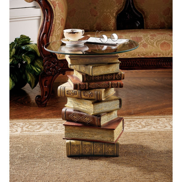 Power of Books Sculptural Glass-Topped Small