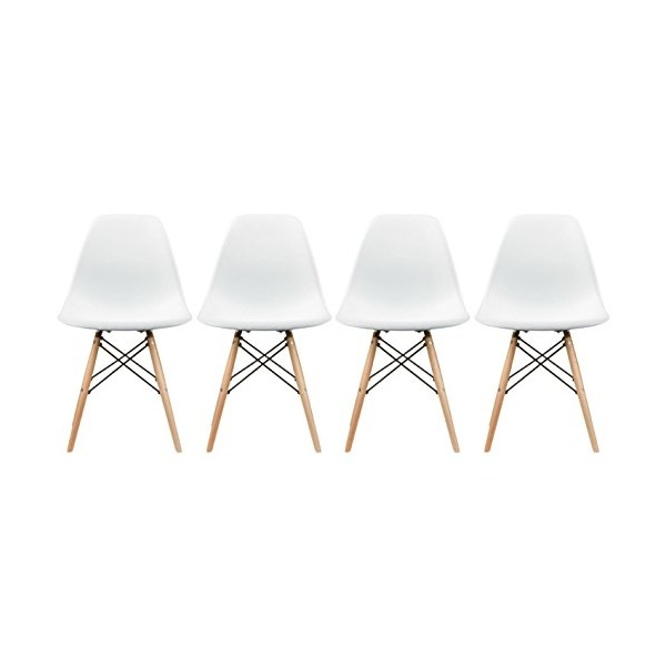 2xhome - Set of Four (4) White - Eames Style Side Chair Natural Wood Legs Eiffel Dining Room Chair - Lounge Chair No Arm Arms Armless Less Chairs Seats Wooden Wood Leg Wire Leg Dowel Leg Legged Base Chrome Metal Eiffel Molded Plastic