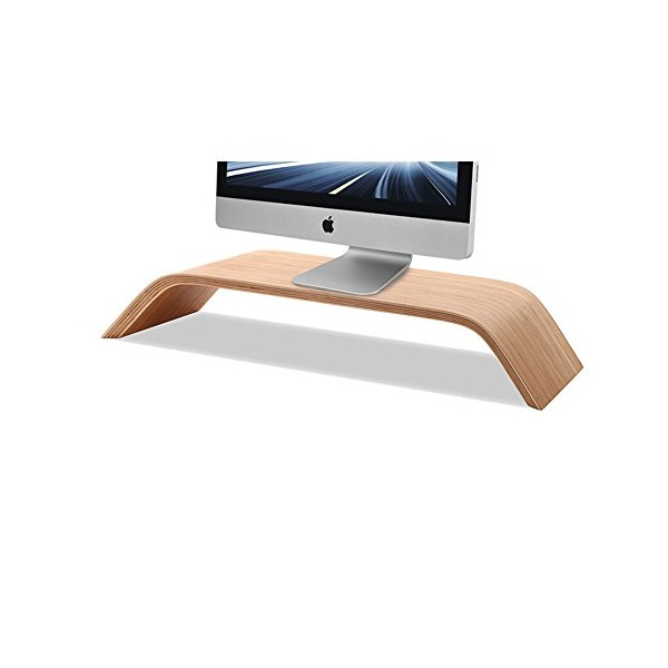 Koolertron Monitor Stand Universal Monitor Arm Multilayer Solid Wood Arch Shelf Smooth Paint Surface Platform Riser for Apple iMac All-in-one Computer 21.5/27-inch