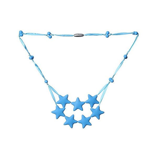 ComfyBaby Beads Falling Stars Silicone Teething Necklace BPA Free - Up in the Sky Blue
