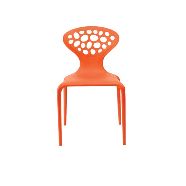 AEON Lucy Plastic Stackable Dining Chair, Orange, Set of 4