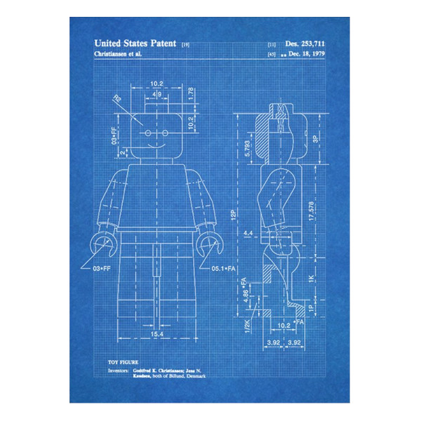 "Lego Guy Patent Blueprint 1979, 18"" x 24"""