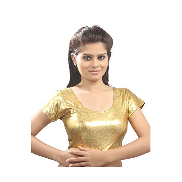 Gold Shimmer Designer Sari Choli Ready-made Saree Blouse - A-9I - Xlarge