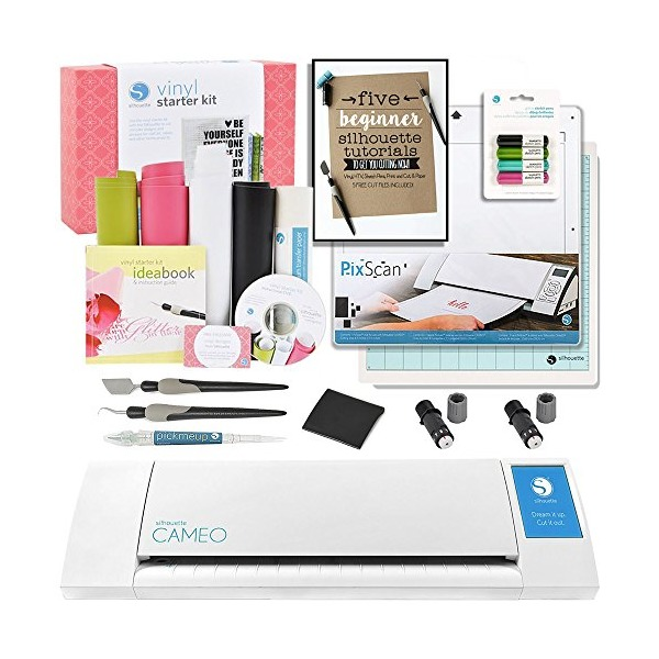 Silhouette CAMEO Starter Bundle with Vinyl Kit, 2 Cutting Blades, Pixscan Mat, Glitter Pens, Starter Guide, Tools and More