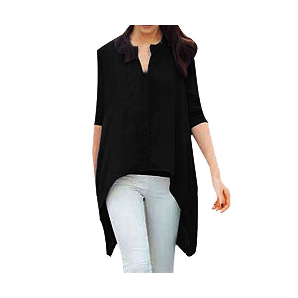 Allegra K Women's Fashion Long Sleeve Single Breasted Uneven Hem Loose Blouse, Black, Large