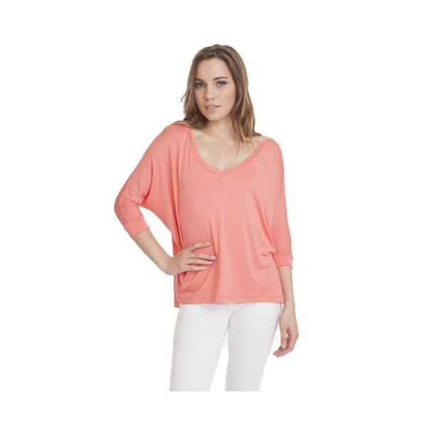 Coral 3/4 Soft Modal Dolman V-Neck T-Shirt Womens Girls Trendy Top Casual-M