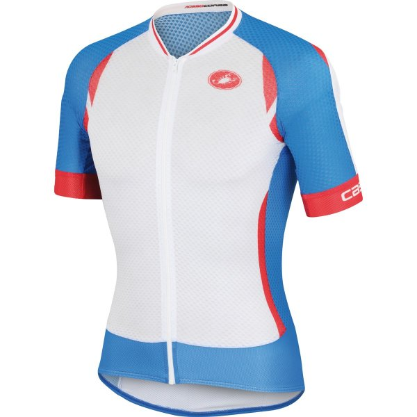 Castelli Climber's 2.0 Full-Zip Jersey - Short-Sleeve - Men's White/Drive Blue/Red, L