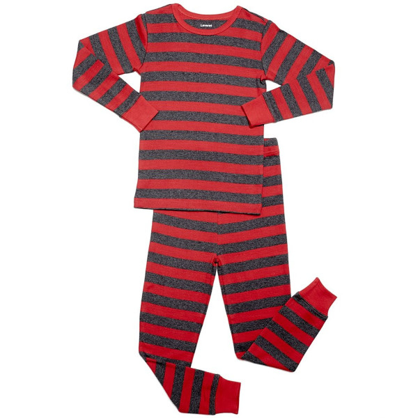 "Leveret ""Baby Boy"" Striped 2 Piece Pajama Set 100% Cotton (Size 6-18 Months) (6-12 Months, Red & Grey)"