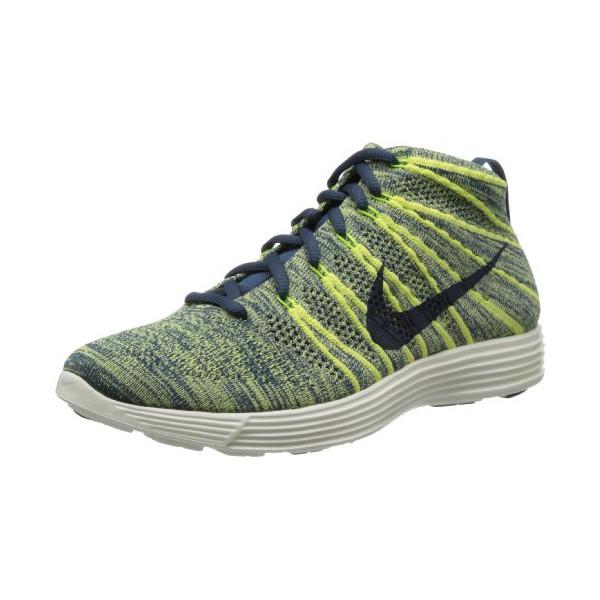 Nike Men's Lunar Flyknit Chukka Sqdrn Bl/Sqdrn Bl/Elctrc Yllw Lifestyle Shoe 10.5 Men US